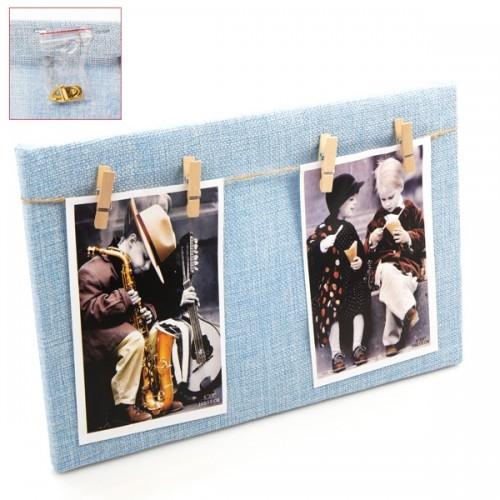 Portafoto madera cuadrado azul