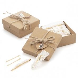 Caja regalo con pasadores de pelo perlas
