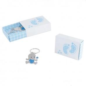 Caja bebe llavero sonajero azul