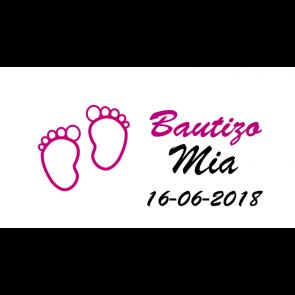 Etiquetas pies rosa bautizo