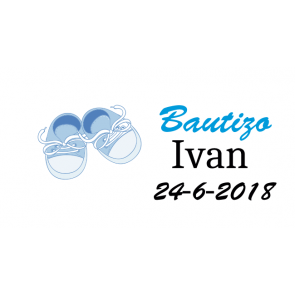 Etiquetas zapatillas azul bautizo
