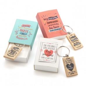 Caja regalo llavero madera frases